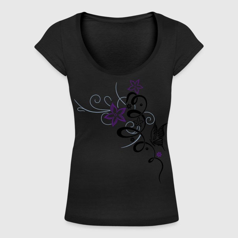 Ornament with butterfly and flowers - Women's Scoop Neck T-Shirt