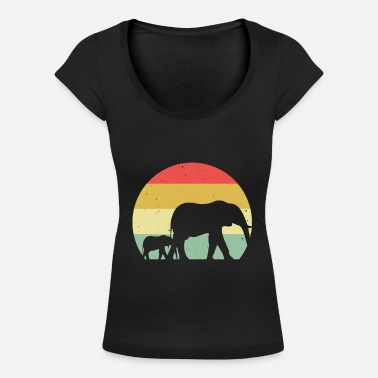 Africa Elephant Nature Retro Style Proboscis Gift - Women's Scoop-Neck T-Shirt