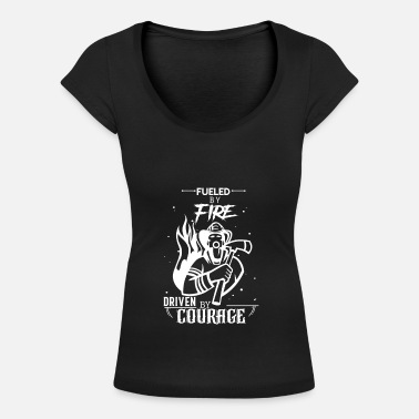 Fueled with fire with courage - Women's Scoop-Neck T-Shirt