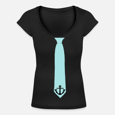Print Two Hearts tie anchor two hearts - Women's Scoop-Neck T-Shirt