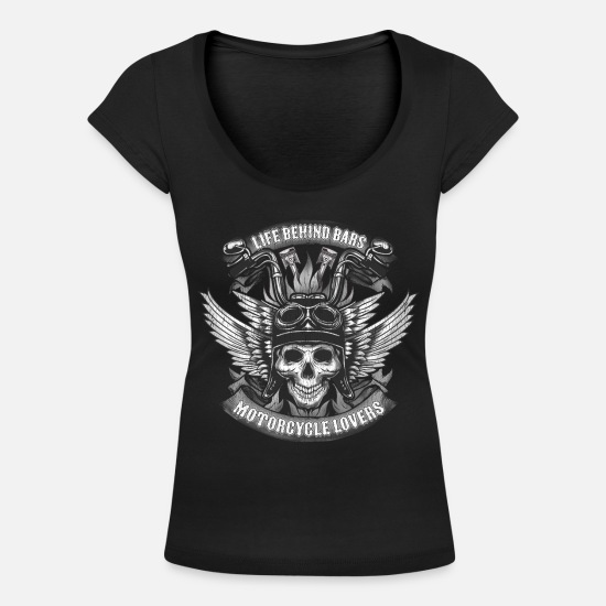 Gift Idea T-Shirts - Motorcycle lovers skull - Women's Scoop-Neck T-Shirt black
