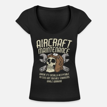Flight AIRCRAFT MAINTENANCE: Cuss out invisible engineers - Women's Scoop-Neck T-Shirt