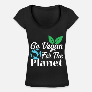 Climate Change Vegetarian vegan - Women's Scoop-Neck T-Shirt