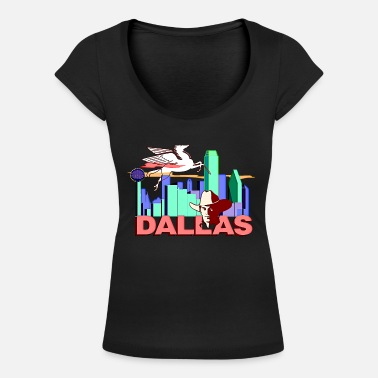 Dallas Cowboys Dallas - Maglietta con scollo a barca donna