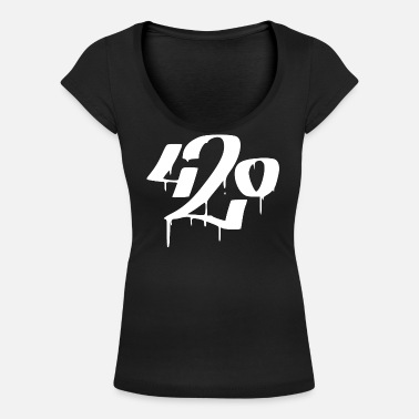 420 white - Weed day 4-20 Graffiti Street Style - Women's Scoop-Neck T-Shirt