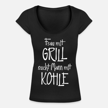 Charcoal BARBECUE CHARCOAL - Women's Scoop-Neck T-Shirt