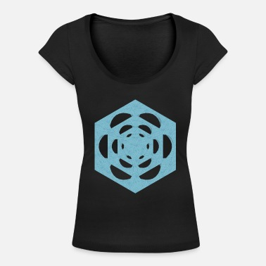 dice in the cube texture water - Women's Scoop-Neck T-Shirt