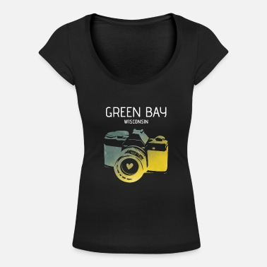 Green Bay Packers Green Bay camera with heart - Women's Scoop-Neck T-Shirt