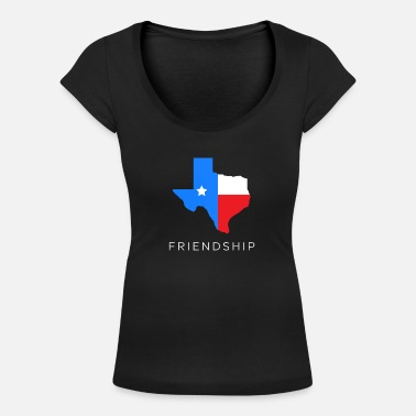 Southern States Texan friendship design for fans of the lone - Women's Scoop-Neck T-Shirt