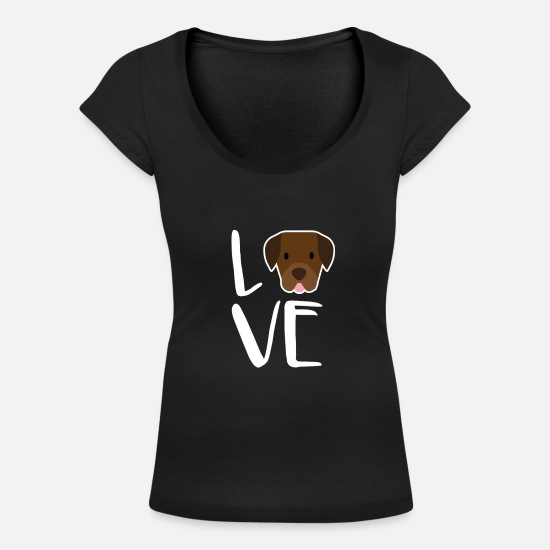 Lab T-Shirts - Labrador Retriever Dog Gift I Love My Chocolate - Women's Scoop-Neck T-Shirt black