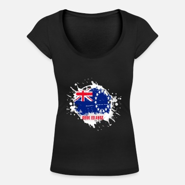 Nationell Cook Islands flagga med klump - T-shirt med u-ringning dam