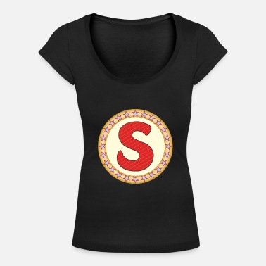 S Sign Stars circle S sign filled - Women's Scoop-Neck T-Shirt