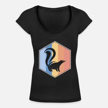 Skunk retro and vintage hexagon - Women's Scoop-Neck T-Shirt