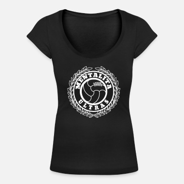 Football Hooligan ultras logo mentalita white - Women's Scoop-Neck T-Shirt