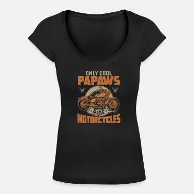 Only Cool Papaws Rides Motorcycles T Shirt - Women's Scoop-Neck T-Shirt