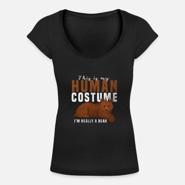 Wildlife human costume bear - Women's Scoop-Neck T-Shirt