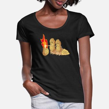 Funny peanuts by the campfire - Women's Scoop-Neck T-Shirt