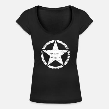 Us us vintage army star - T-shirt col rond profond Femme