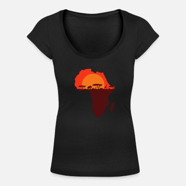 South Double Exposure Art Africa Safari Funny Gift - Women's Scoop-Neck T-Shirt