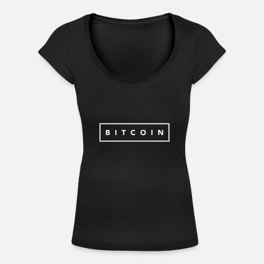 Bitcoin white square - Women's Scoop-Neck T-Shirt