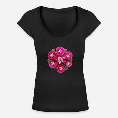 Music Girl Floral Fantasy Flower Power, Summer, Beautiful, Birthday - Women's Scoop-Neck T-Shirt