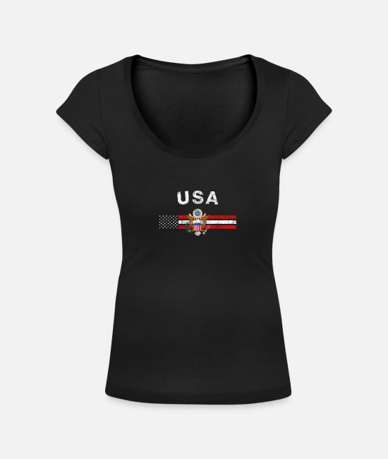 Usa T-Shirts - USA Flag Shirt - USA Emblem & USA Flag Shirt - Women's Scoop-Neck T-Shirt black