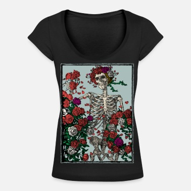 Manson Skeleton and roses - T-skjorte med rund-utsnitt for kvinner