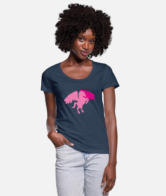 Riding T-Shirts - winged pegasus in rearing pink - Women's Scoop-Neck T-Shirt navy