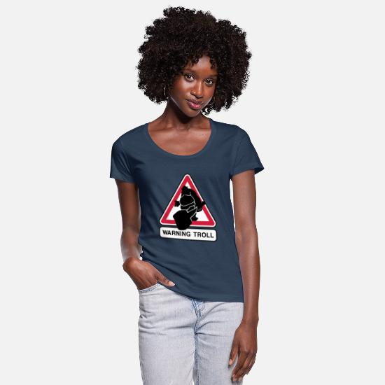 Road Sign T-Shirts - Troll - Women's Scoop-Neck T-Shirt navy