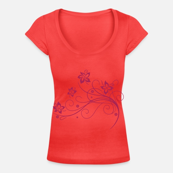 Blossom T-Shirts - Beautiful, filigree flowers. Floral element. - Women's Scoop-Neck T-Shirt coral
