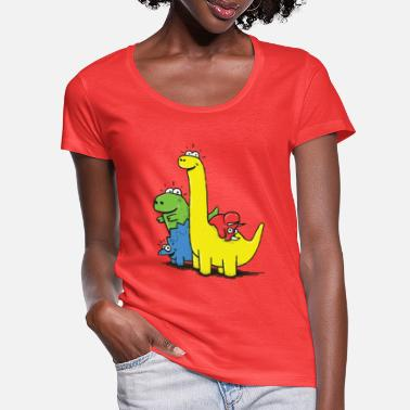 Dino Gang, Colored - Women's Scoop-Neck T-Shirt