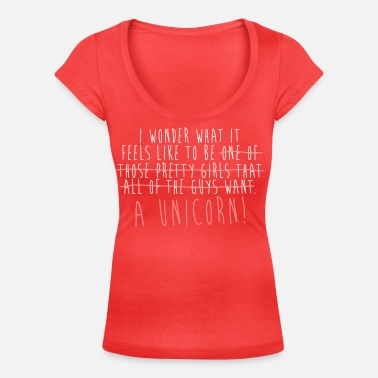 I wonder what it feels like to be a Unicorn! - Women's Scoop-Neck T-Shirt