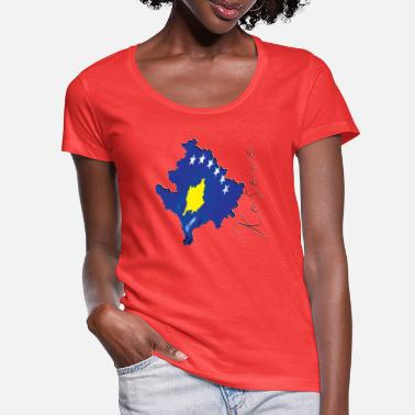 Real Kosovo Flag - Flag Map KV - Women's Scoop-Neck T-Shirt