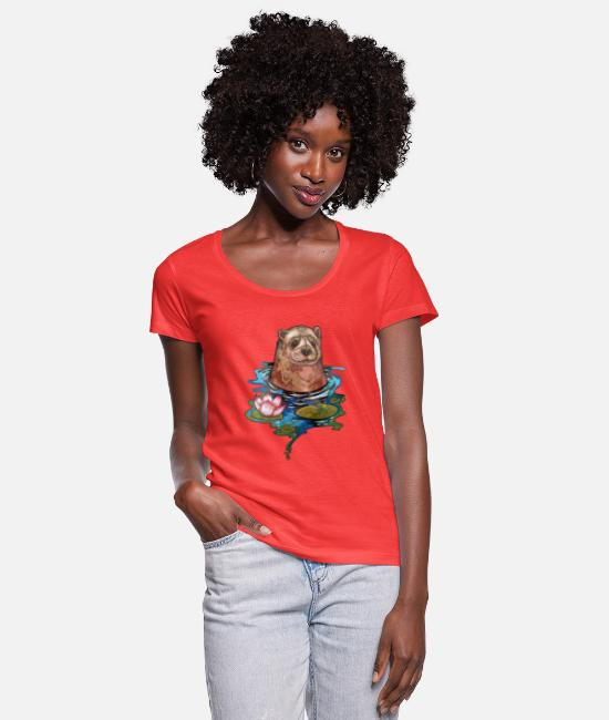 Water T-Shirts - Otter in the Bath - Women's Scoop-Neck T-Shirt coral