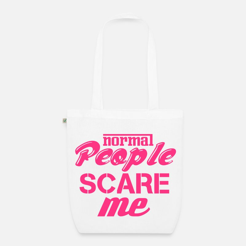 Trendy Bags & Backpacks - Normal people scare me - Organic Tote Bag white