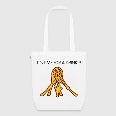 giraffe drinking - EarthPositive Tote Bag