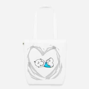 Heart and Baby (blue) - Bio stoffen tas