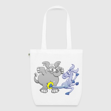 Democrat Donkey Kicking Republican Elephant - EarthPositive Tote Bag