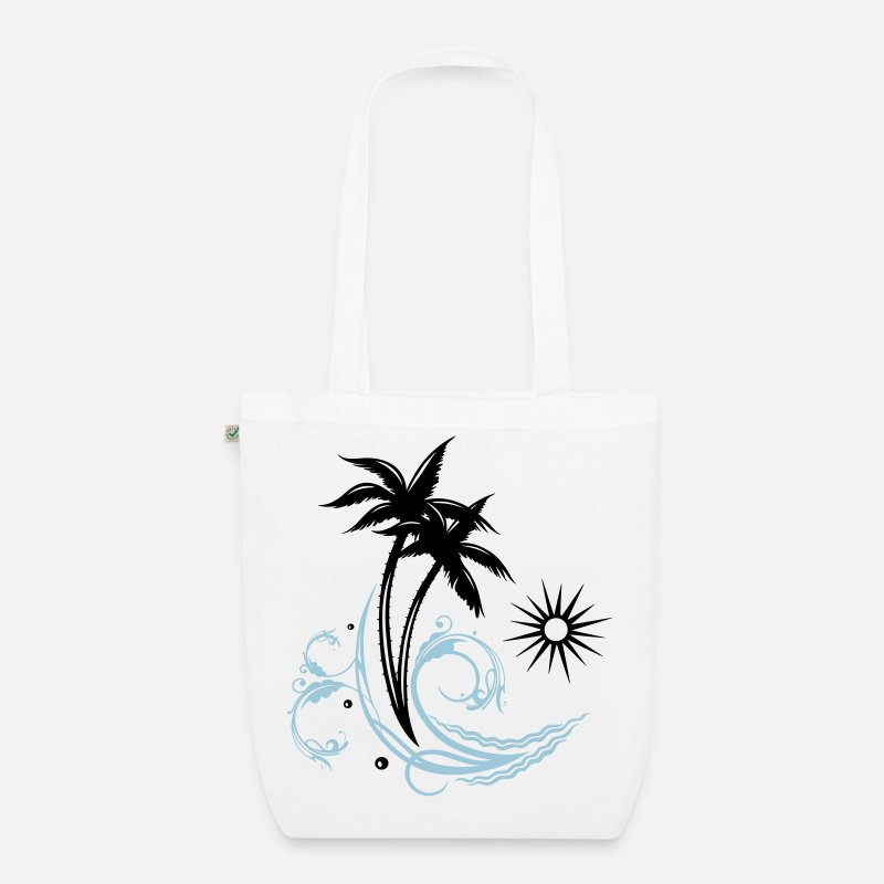 Caribbean Bags & Backpacks - Palm trees with wave and sun, vacation, surf - Organic Tote Bag white
