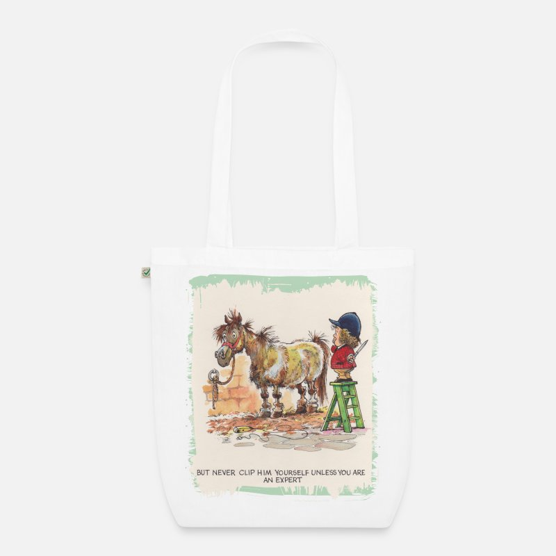 Thelwel Bags & Backpacks - Thelwell - Pony with hairdresser - Organic Tote Bag white