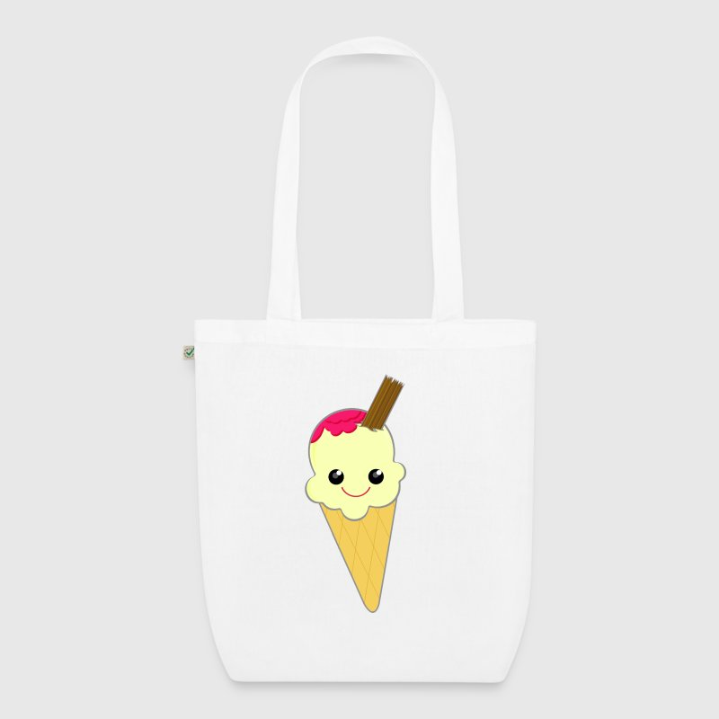 Cute Kawaii Ice Cream Cone with Sauce and Chocolate Flake - EarthPositive Tote Bag