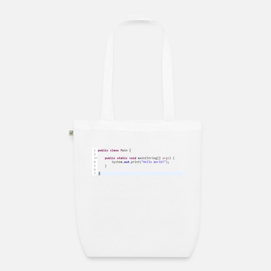 Java Bags & Backpacks - Java Hello World! gift idea - Organic Tote Bag white
