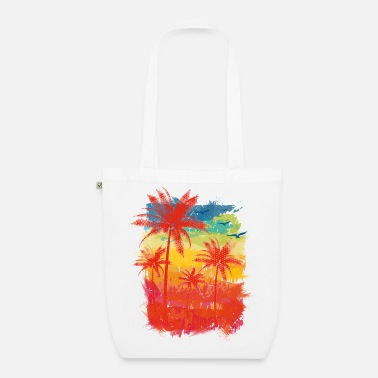 Summer Colours Colourful Stripes (palms) - Organic Tote Bag