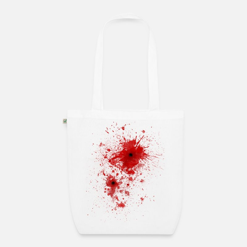 Halloween Bags & Backpacks - Blood spatter / bullet wound - Costume  - Organic Tote Bag white