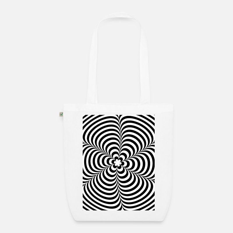 Illusion Bags & Backpacks - Optical illusion (Impossible) Black & White OP-Art - Organic Tote Bag white