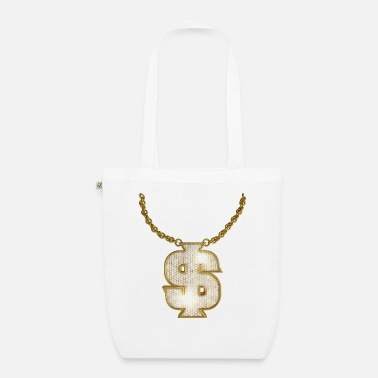 Rapper Oldschool Gold Rapper Dollar Chain - Bio Stoffbeutel