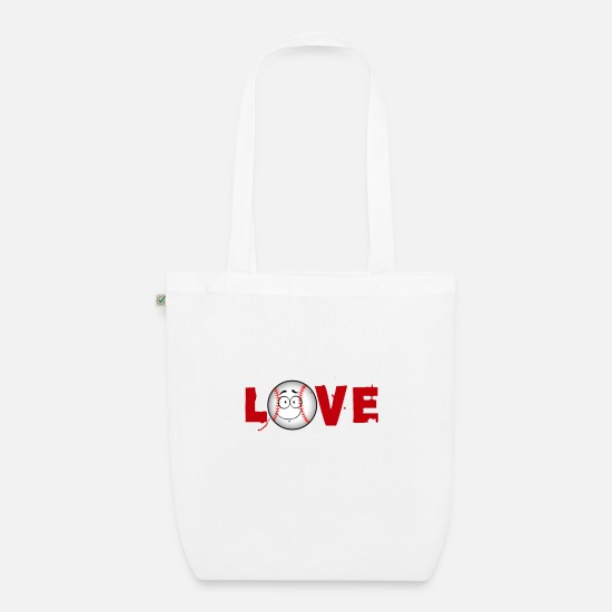 Querer Bolsas y mochilas - Baseball Love Sports Ball Shirt Ball Sports Love - Bolsa de tela orgánica blanco