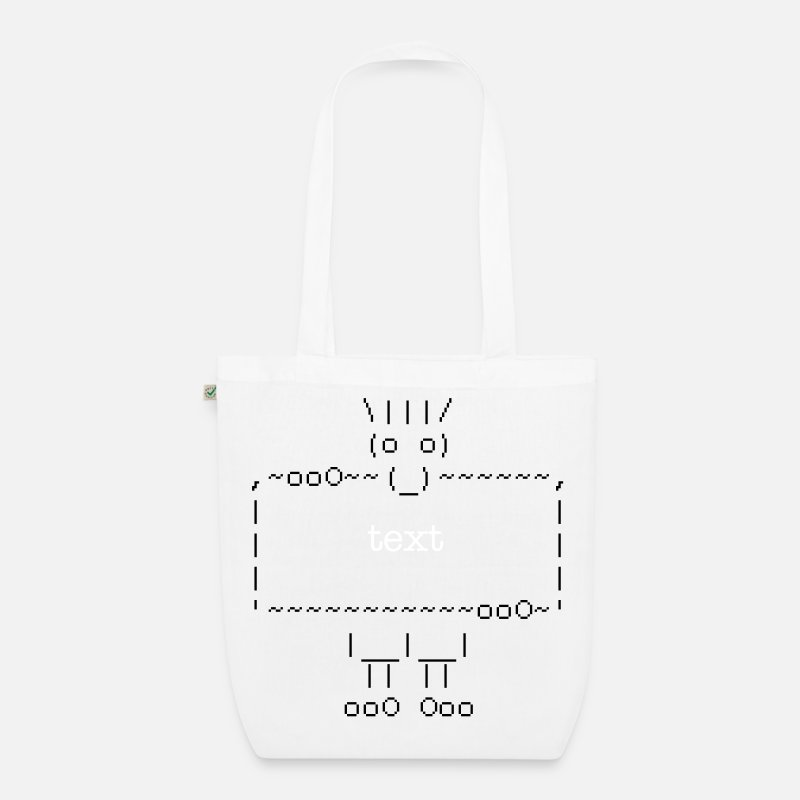 Laugh Bags & Backpacks - ascii art: troll + your text - Organic Tote Bag white