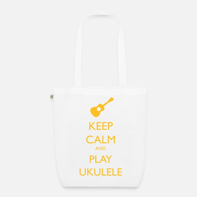 Ukulele Bags & Backpacks - keep calm and play ukulele - Organic Tote Bag white