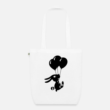 Kawaii Flying Rabbit with Balloons - Bolsa de tela ecológica